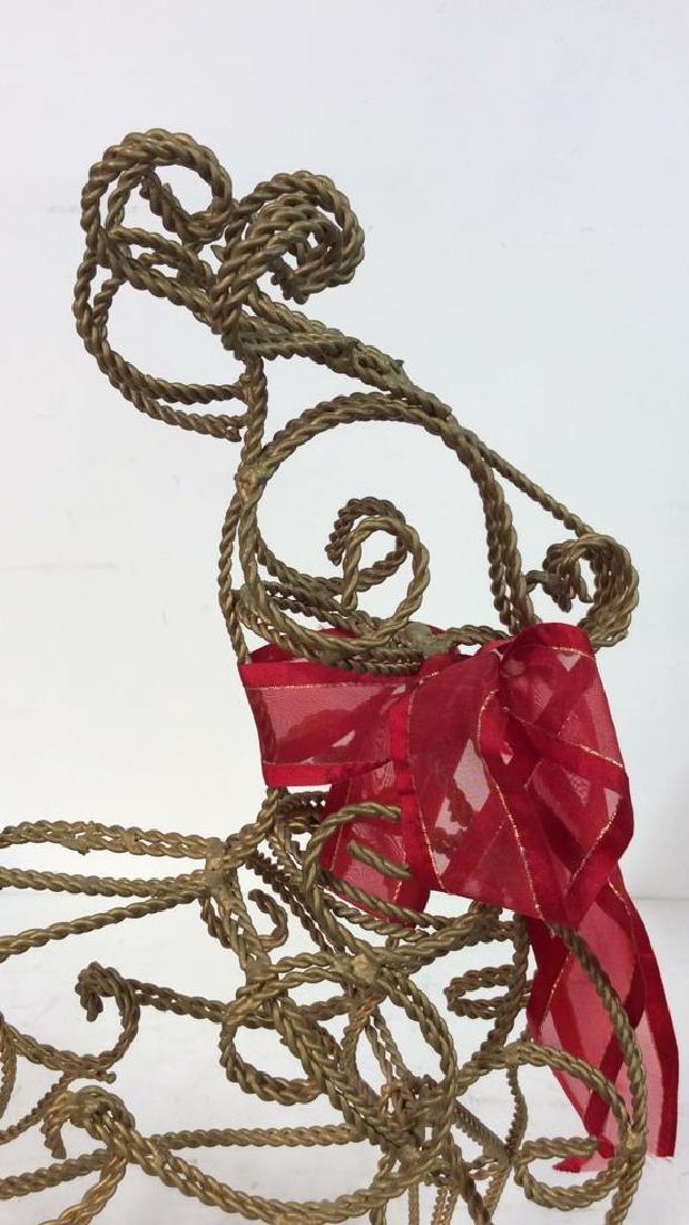 Curved Metal Filigree Style Reindeer Statuette - 4