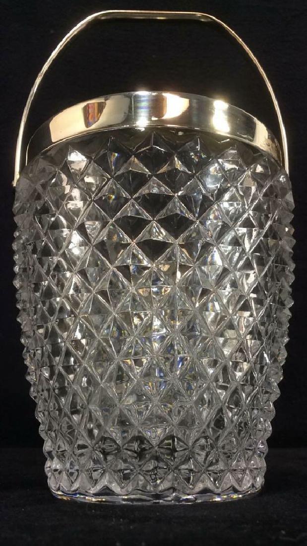 Cut Crystal Glass Handled Ice Bucket