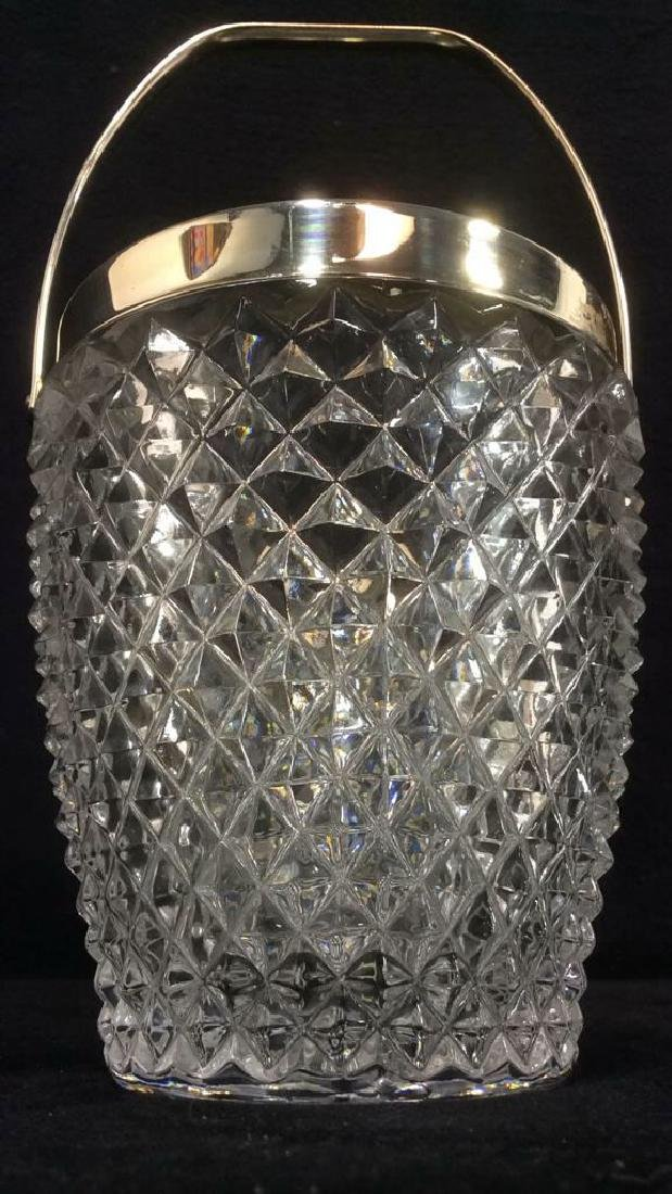 Cut Crystal Glass Handled Ice Bucket
