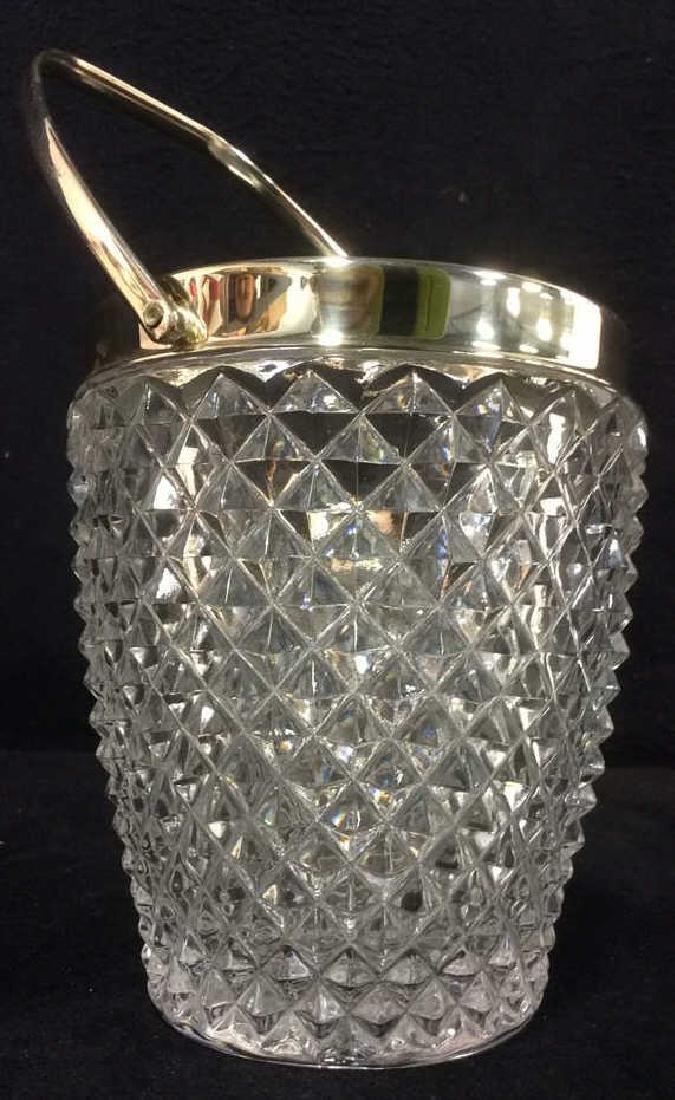 Cut Crystal Glass Handled Ice Bucket - 2