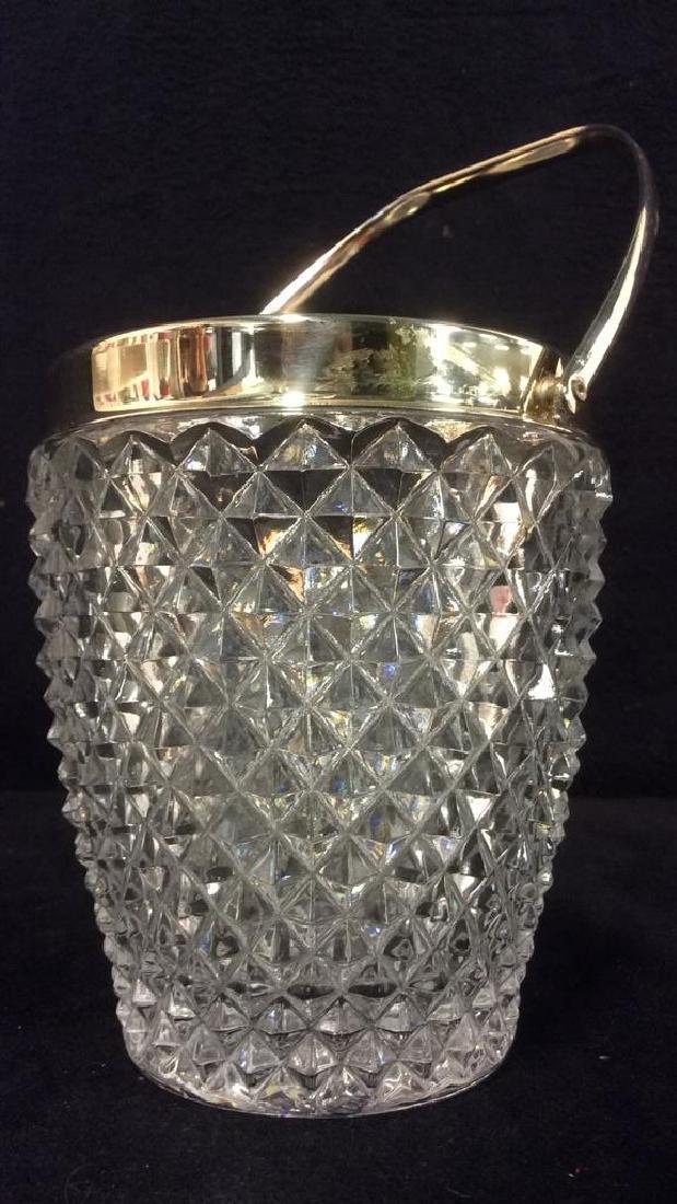 Cut Crystal Glass Handled Ice Bucket - 3