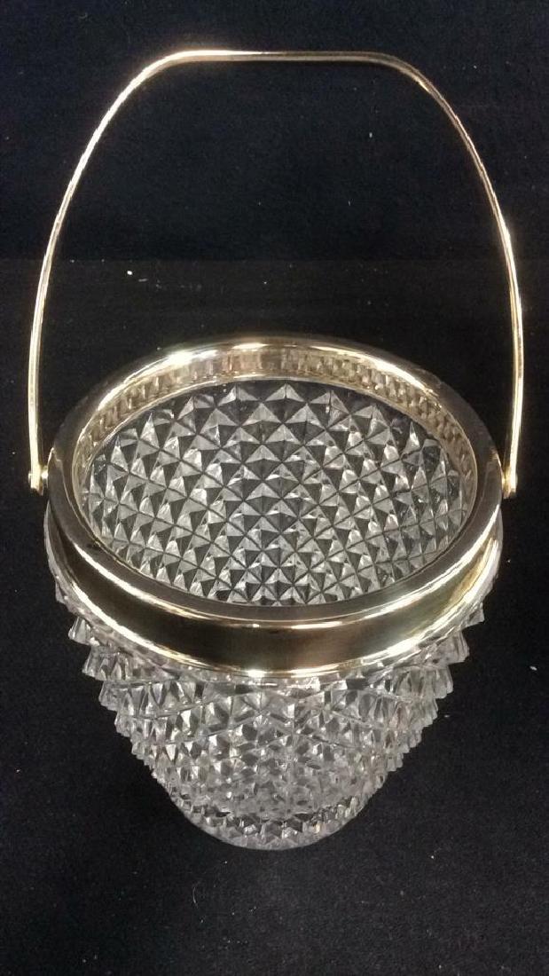 Cut Crystal Glass Handled Ice Bucket - 4
