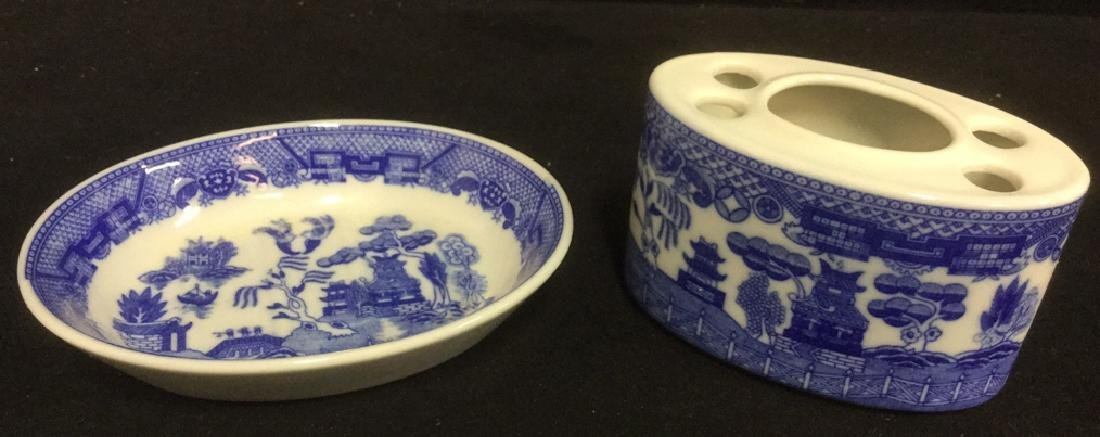 Lot 2 Porcelain Soap Dish And Toothbrush Holder
