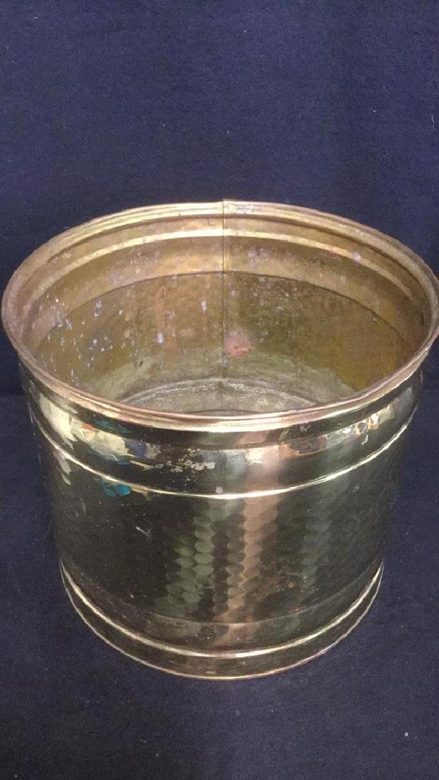 Brass Toned Metal Kindling And Log Bucket - 3