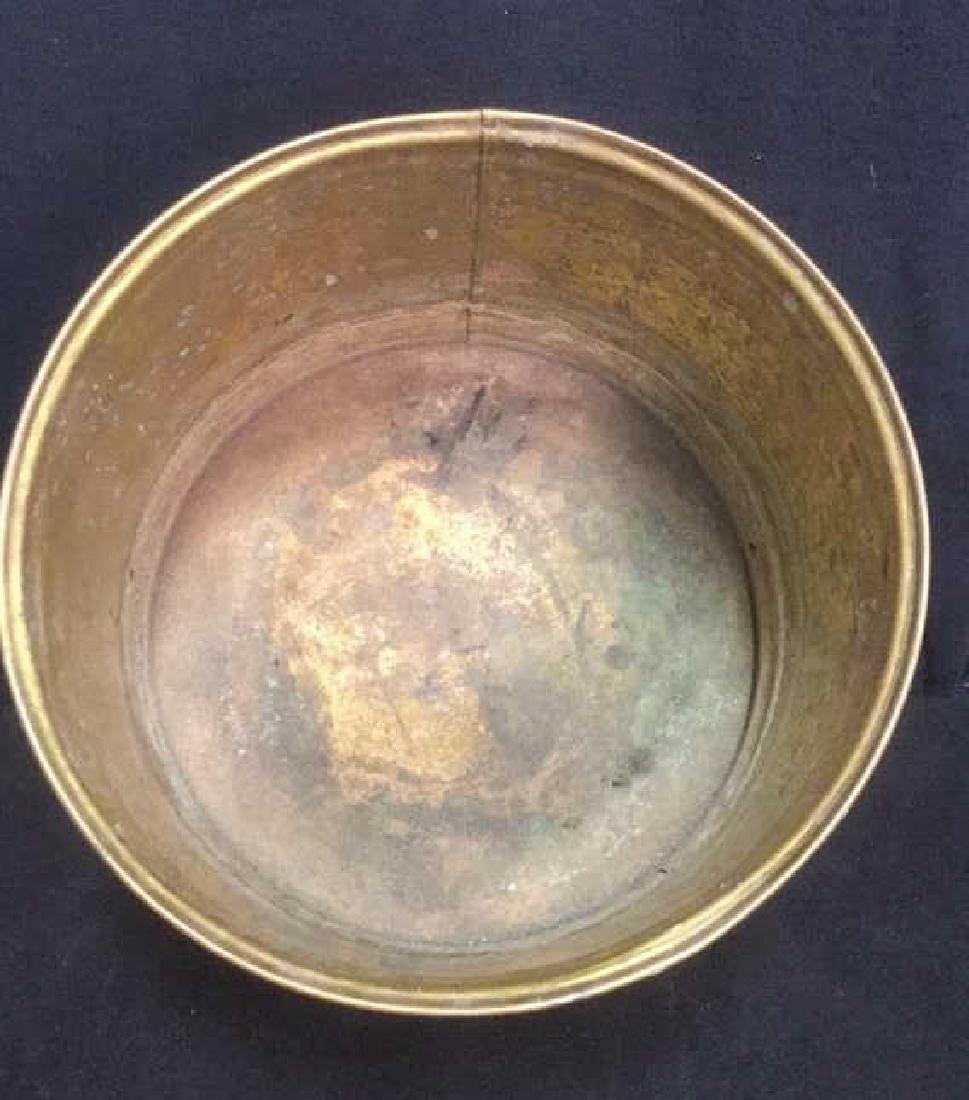 Brass Toned Metal Kindling And Log Bucket - 4