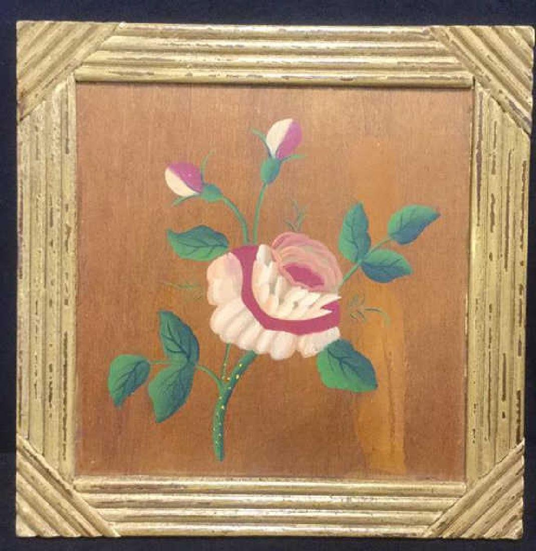 FramedvFloral And Leaf Painting On Wood Panel