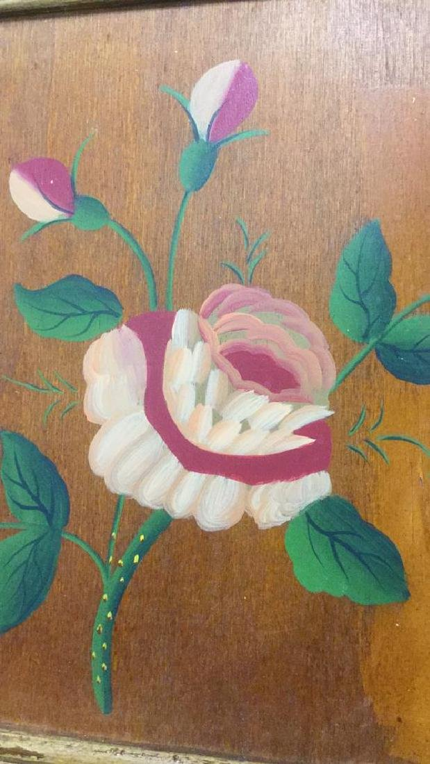 FramedvFloral And Leaf Painting On Wood Panel - 2