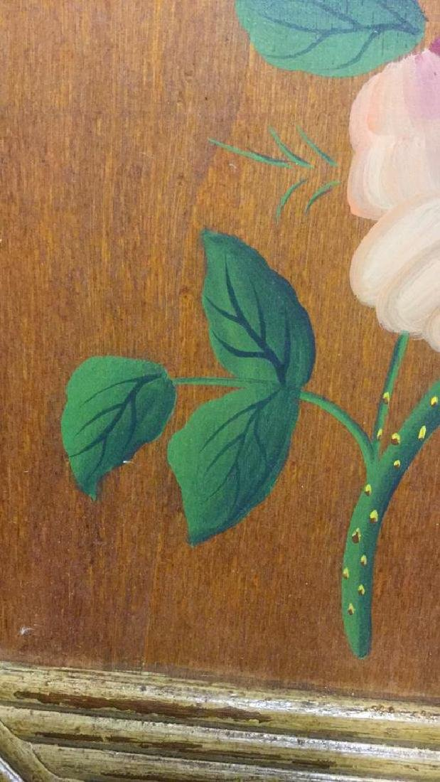 FramedvFloral And Leaf Painting On Wood Panel - 3