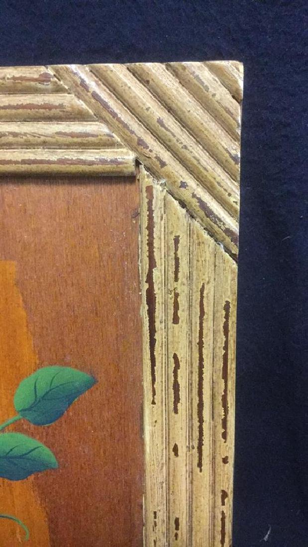 FramedvFloral And Leaf Painting On Wood Panel - 5