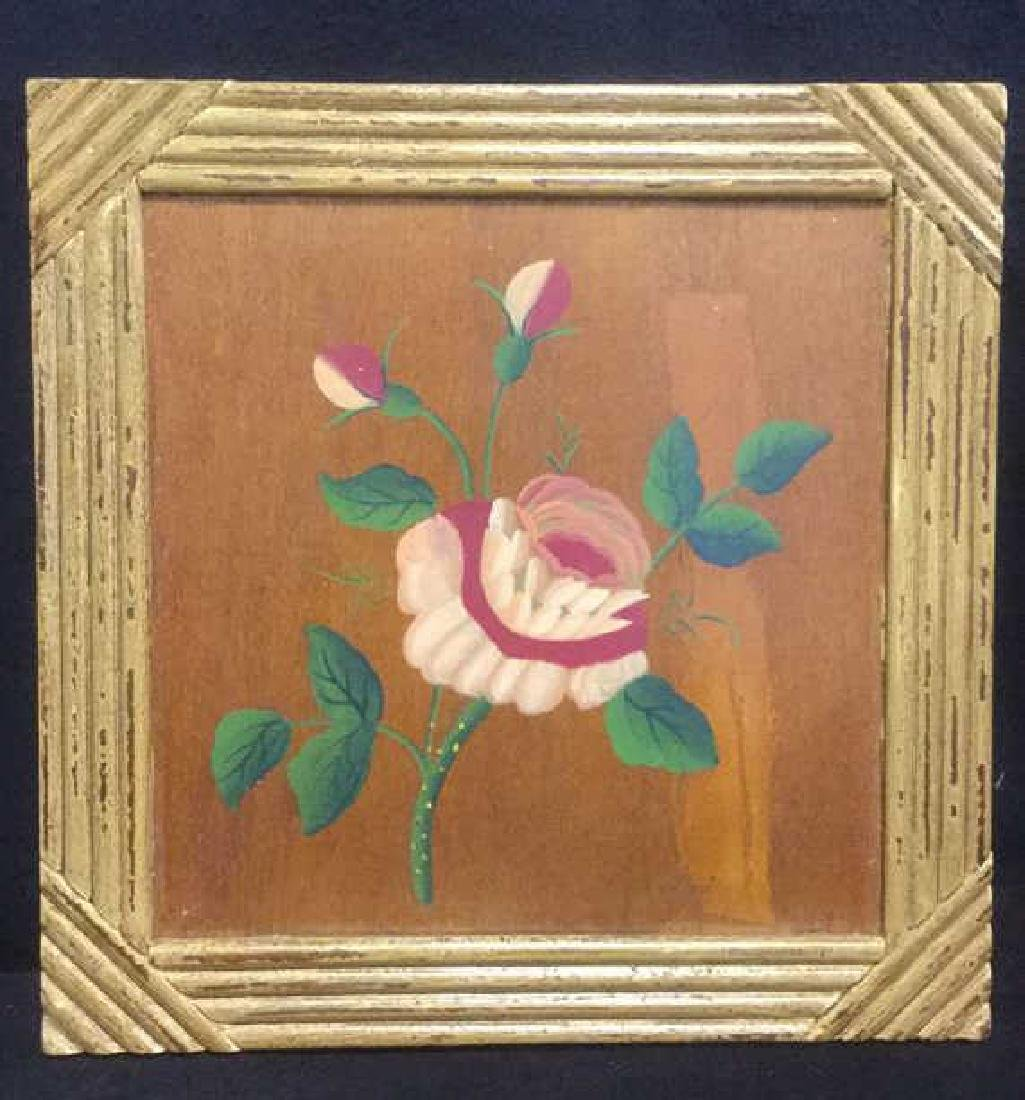 FramedvFloral And Leaf Painting On Wood Panel - 6