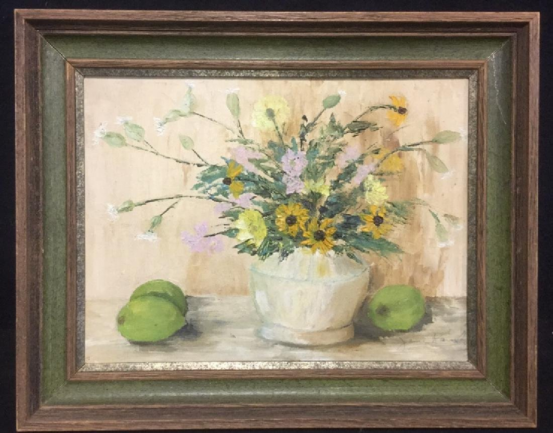 Framed Flower And Fruit Still Life Painting
