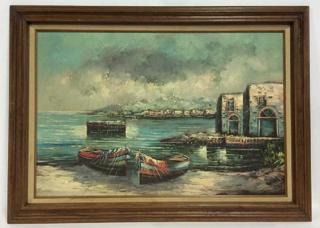 Framed Oil Seaside Landscape Painting