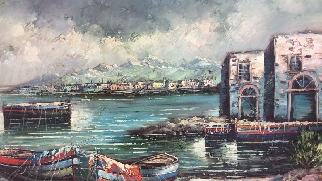 Framed Oil Seaside Landscape Painting - 2