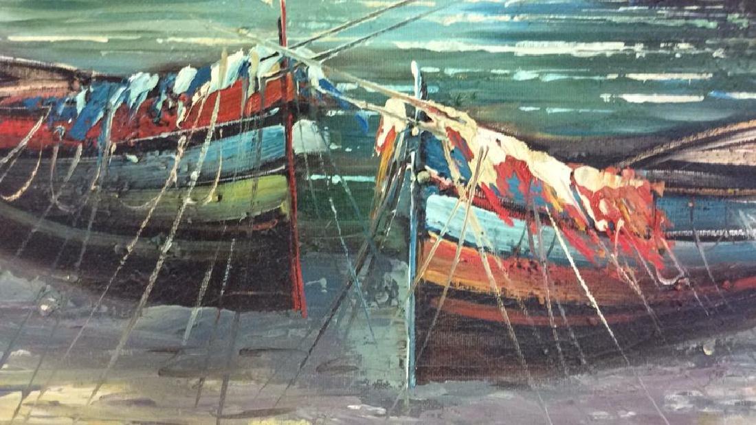 Framed Oil Seaside Landscape Painting - 4