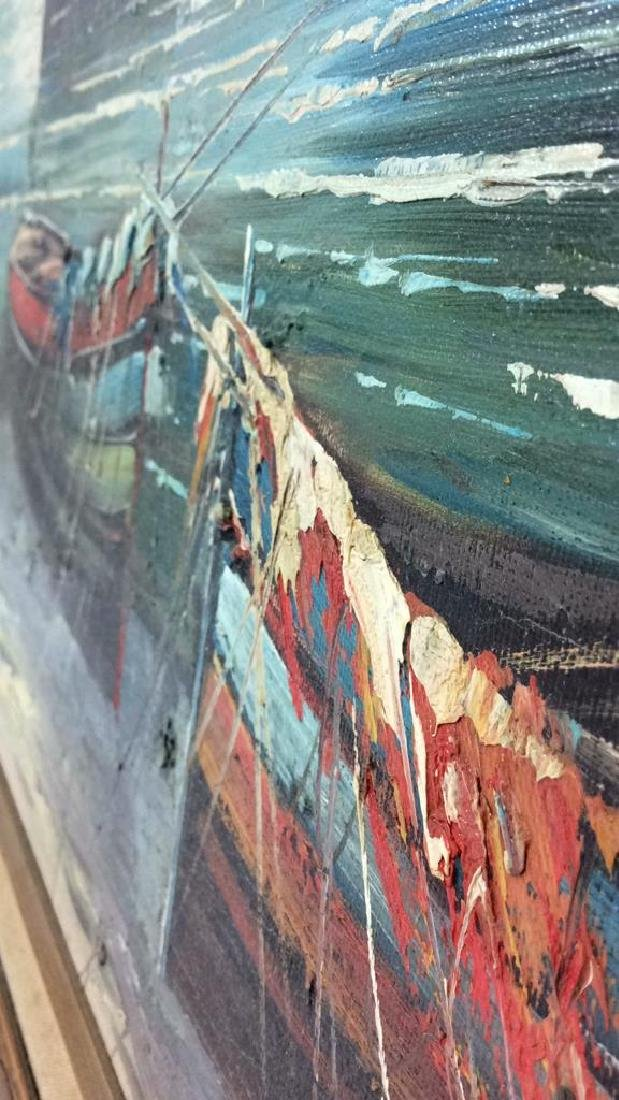 Framed Oil Seaside Landscape Painting - 5