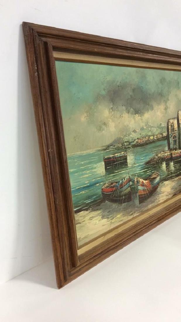 Framed Oil Seaside Landscape Painting - 6