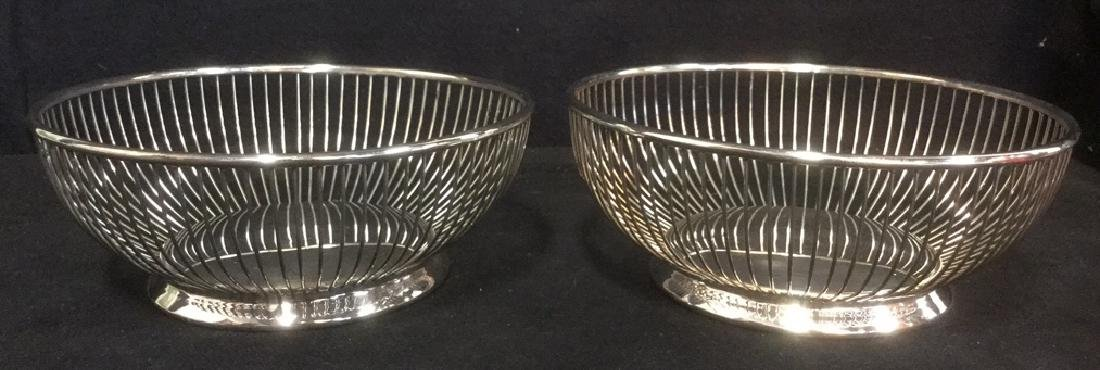 Vintage Sheridan Wire Silver Plate Fruit Bowls