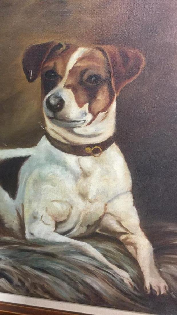 Framed Painting Portrait Of A Jack Russell Terrier