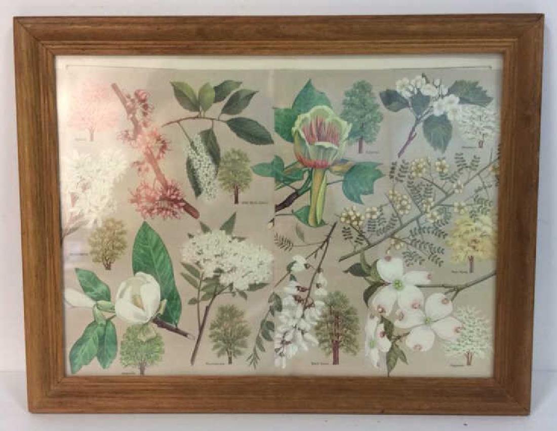 Carved Wide Framed Floral Print Artwork