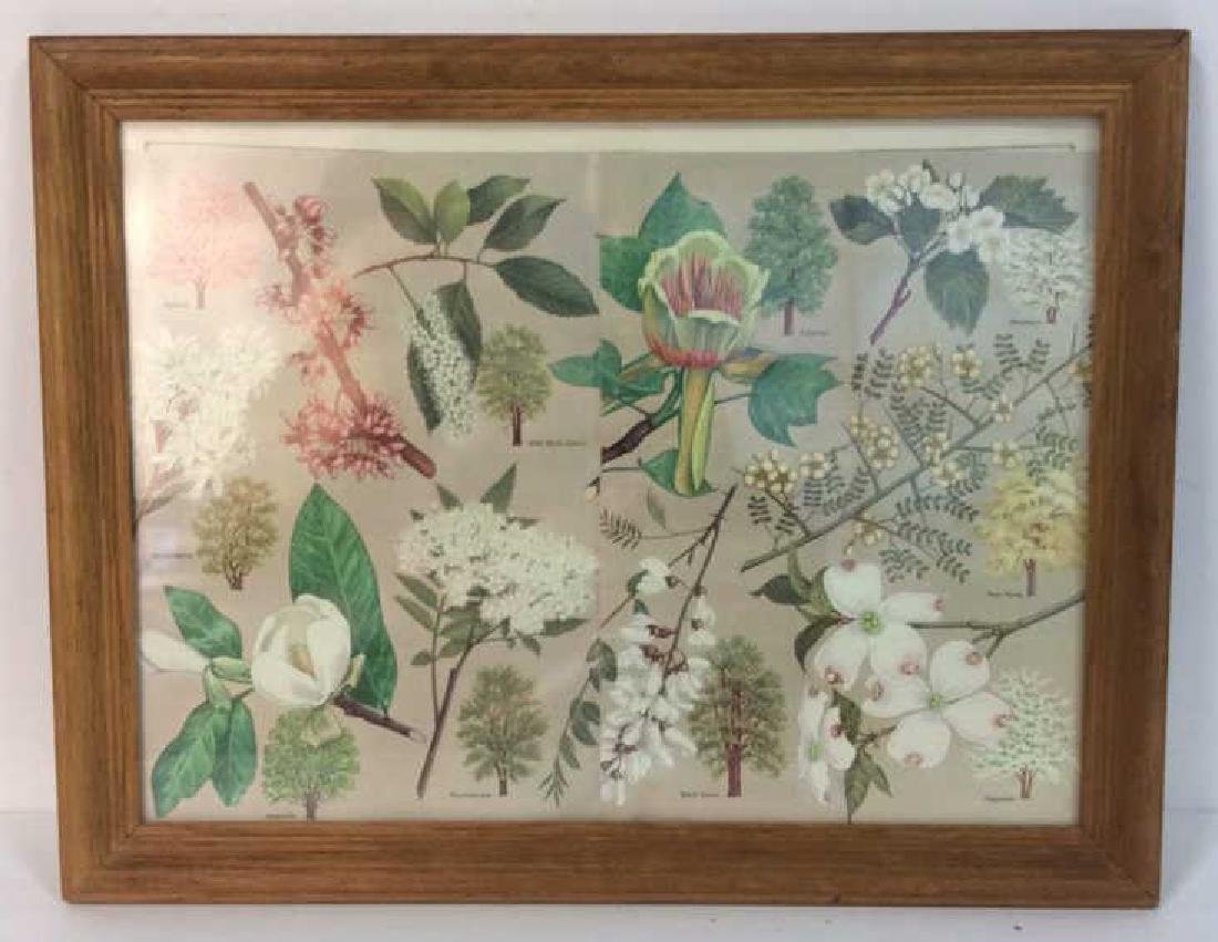 Carved Wide Framed Floral Print Artwork