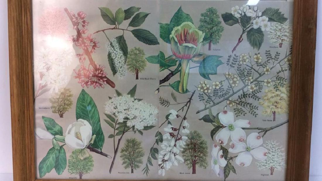 Carved Wide Framed Floral Print Artwork - 2