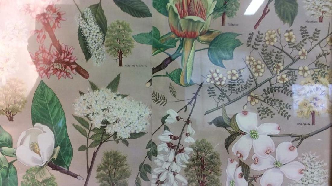 Carved Wide Framed Floral Print Artwork - 3