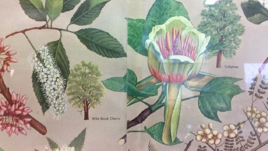 Carved Wide Framed Floral Print Artwork - 4