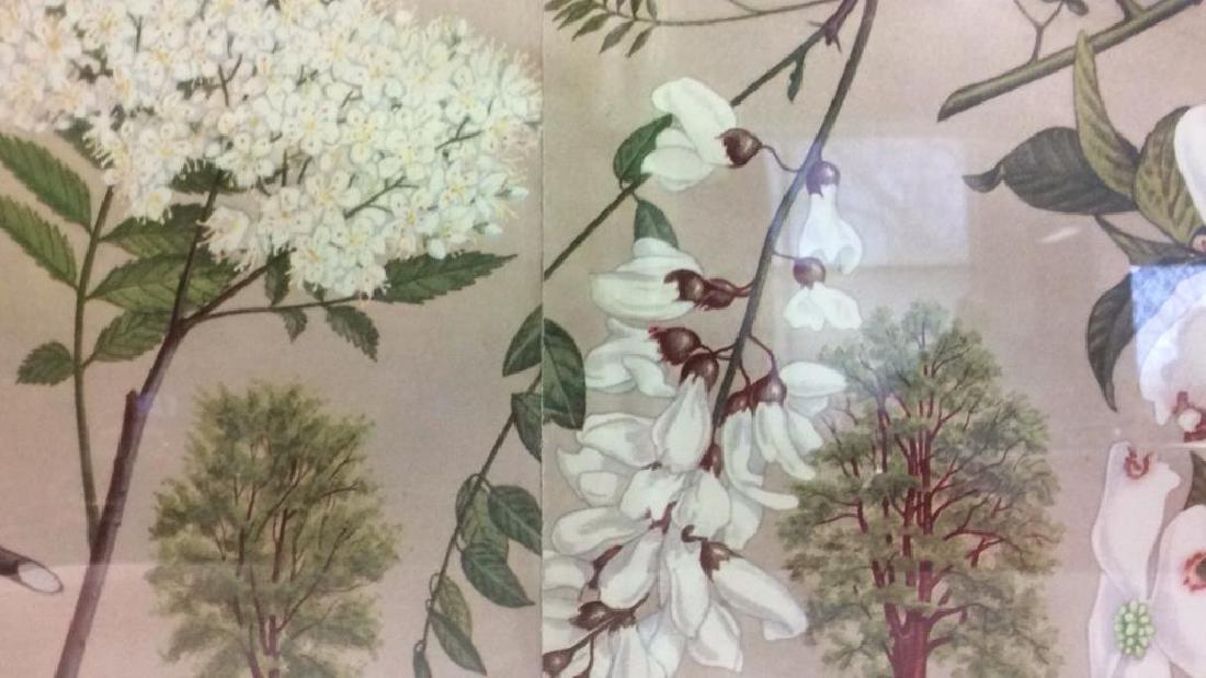 Carved Wide Framed Floral Print Artwork - 5