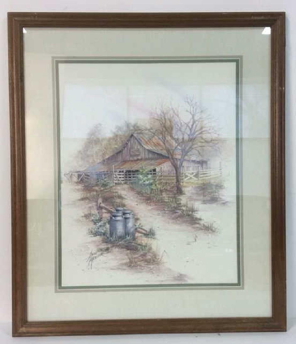 ANNI MOLLER Framed & Matted Barn Yard Print