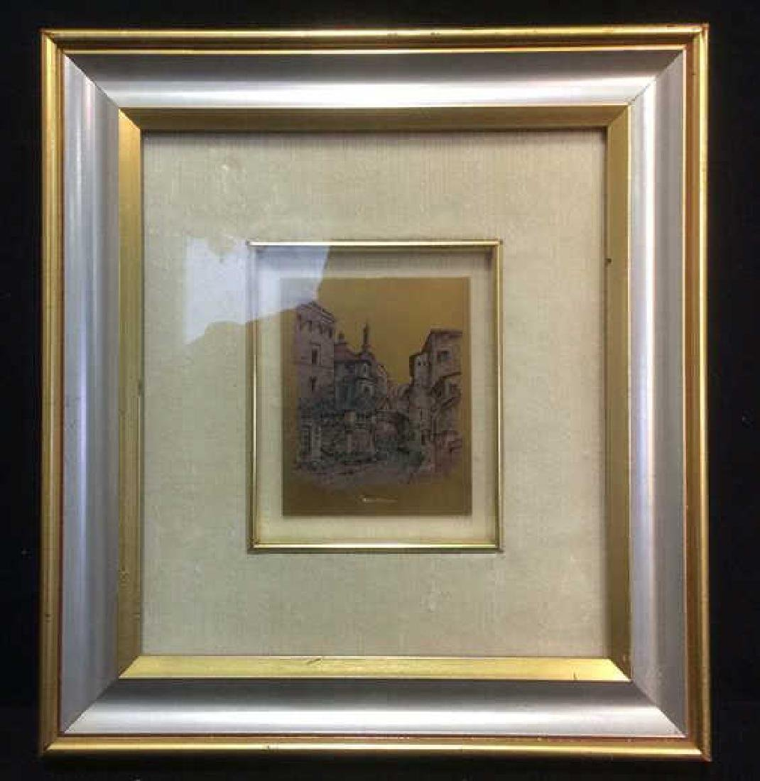 Framed Print On Gold Toned Metallic Paper