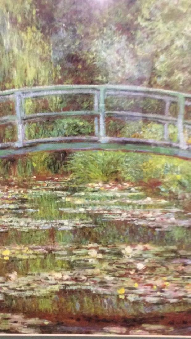 Framed & Matted Monet Print Water Lillies w Bridge