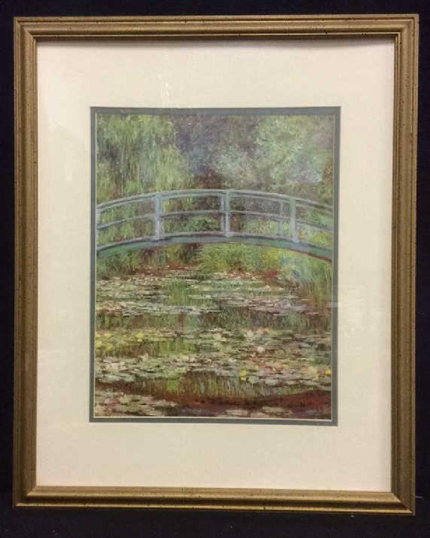 Framed & Matted Monet Print Water Lillies w Bridge - 2