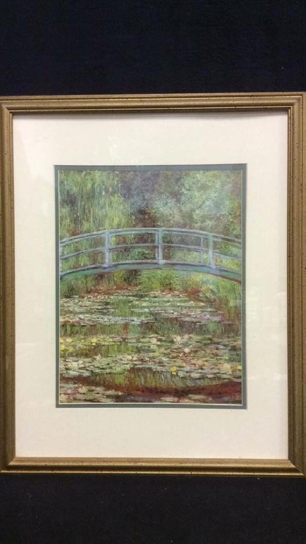 Framed & Matted Monet Print Water Lillies w Bridge - 3
