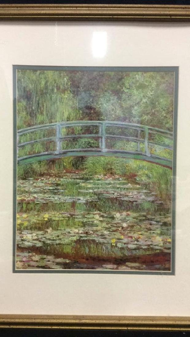 Framed & Matted Monet Print Water Lillies w Bridge - 4