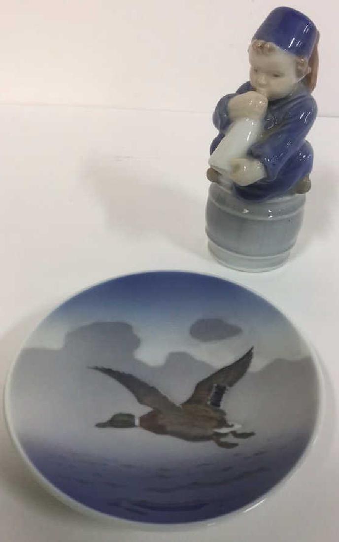 Lot 2 Royal Copenhagen Porcelain Figural And Dish
