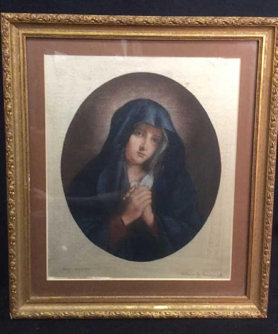 Framed Print Of Virgin Mary On Satin Fabric