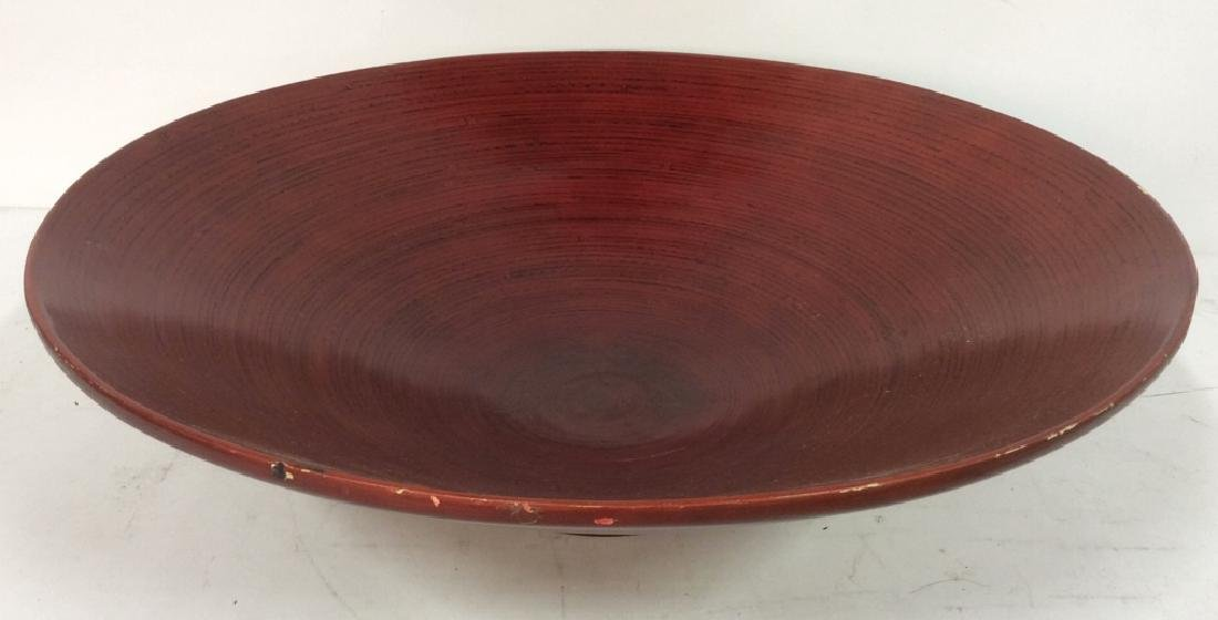Red Toned Wooden Centerpiece Bowl - 3