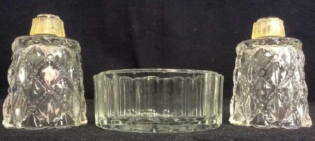 Lot 3 Assorted Glass Tabletop Accessories
