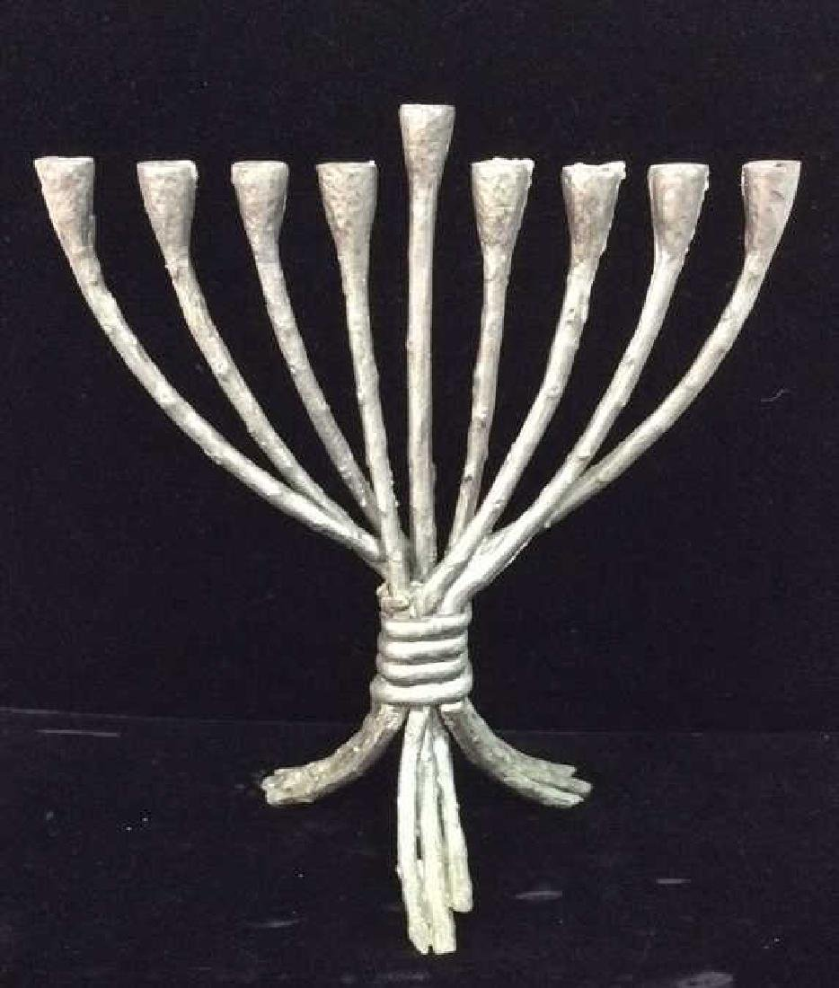 Silver Toned Painted Metal Menorah