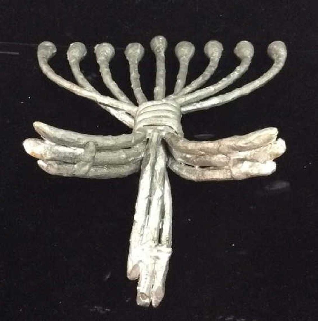 Silver Toned Painted Metal Menorah - 5