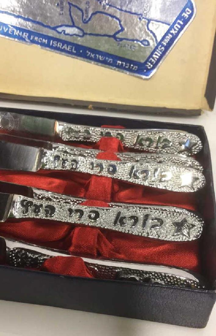 Lot 6 Judaica Set Of Silver Toned Knives w Box - 3