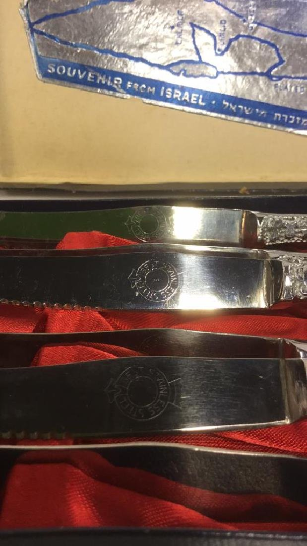 Lot 6 Judaica Set Of Silver Toned Knives w Box - 4