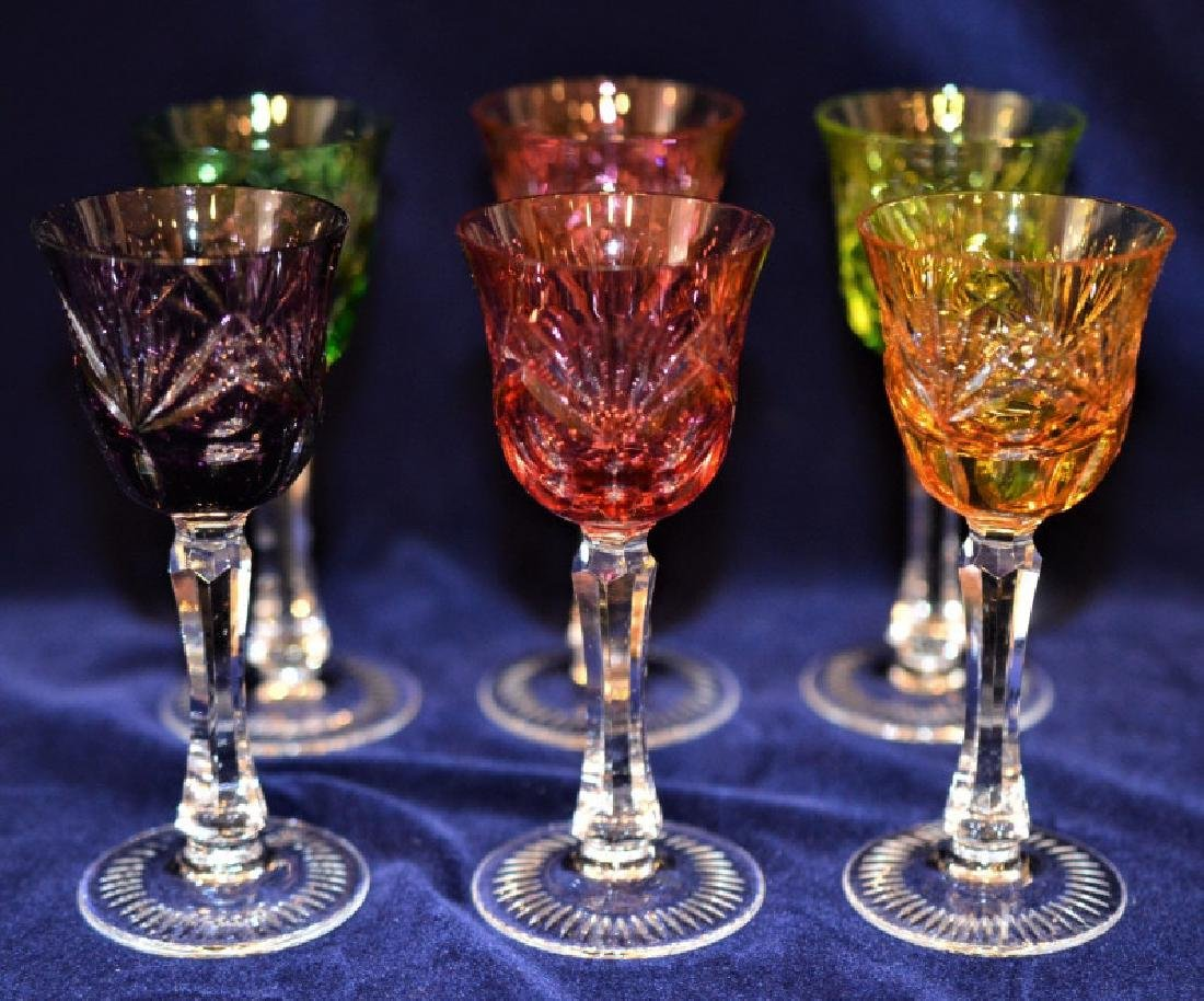 Lot of 6 Colorful Cordial Glasses