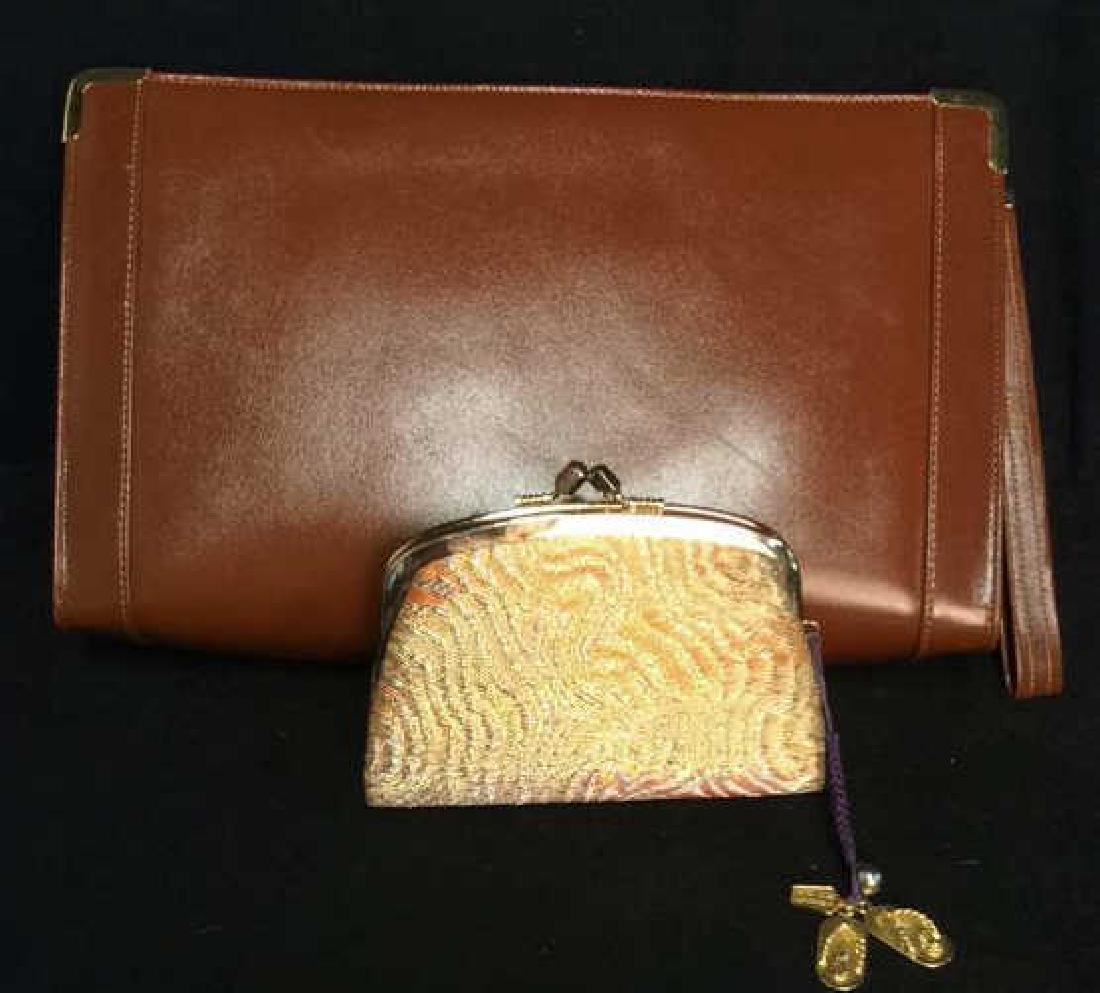Lot 2 Leather Purse Clutch W Coin Purse