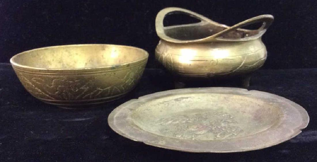 Lot Brass Toned Metal Tabletop Accessories