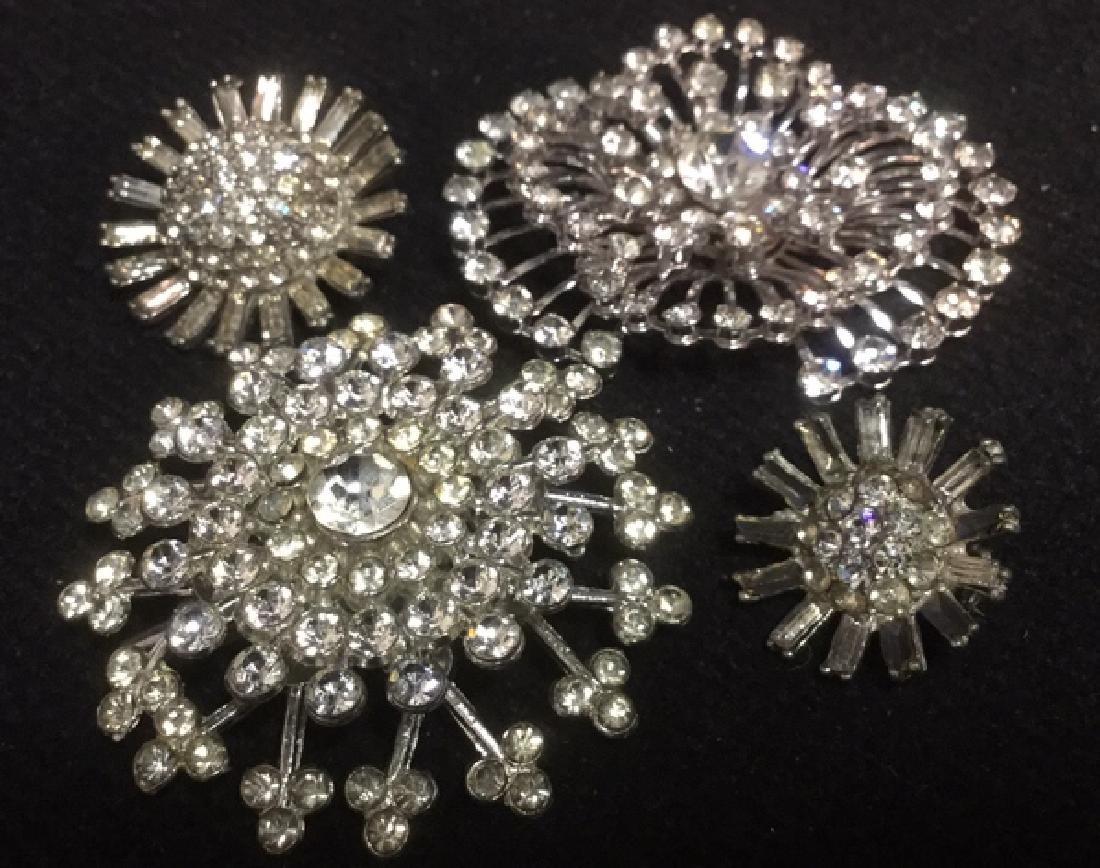 Lot 4 Estate Costume Jewelry Rhinestone Brooches