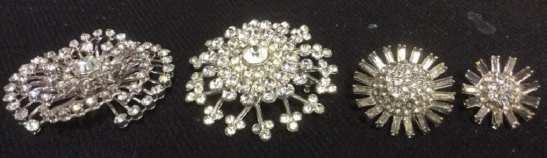 Lot 4 Estate Costume Jewelry Rhinestone Brooches - 9