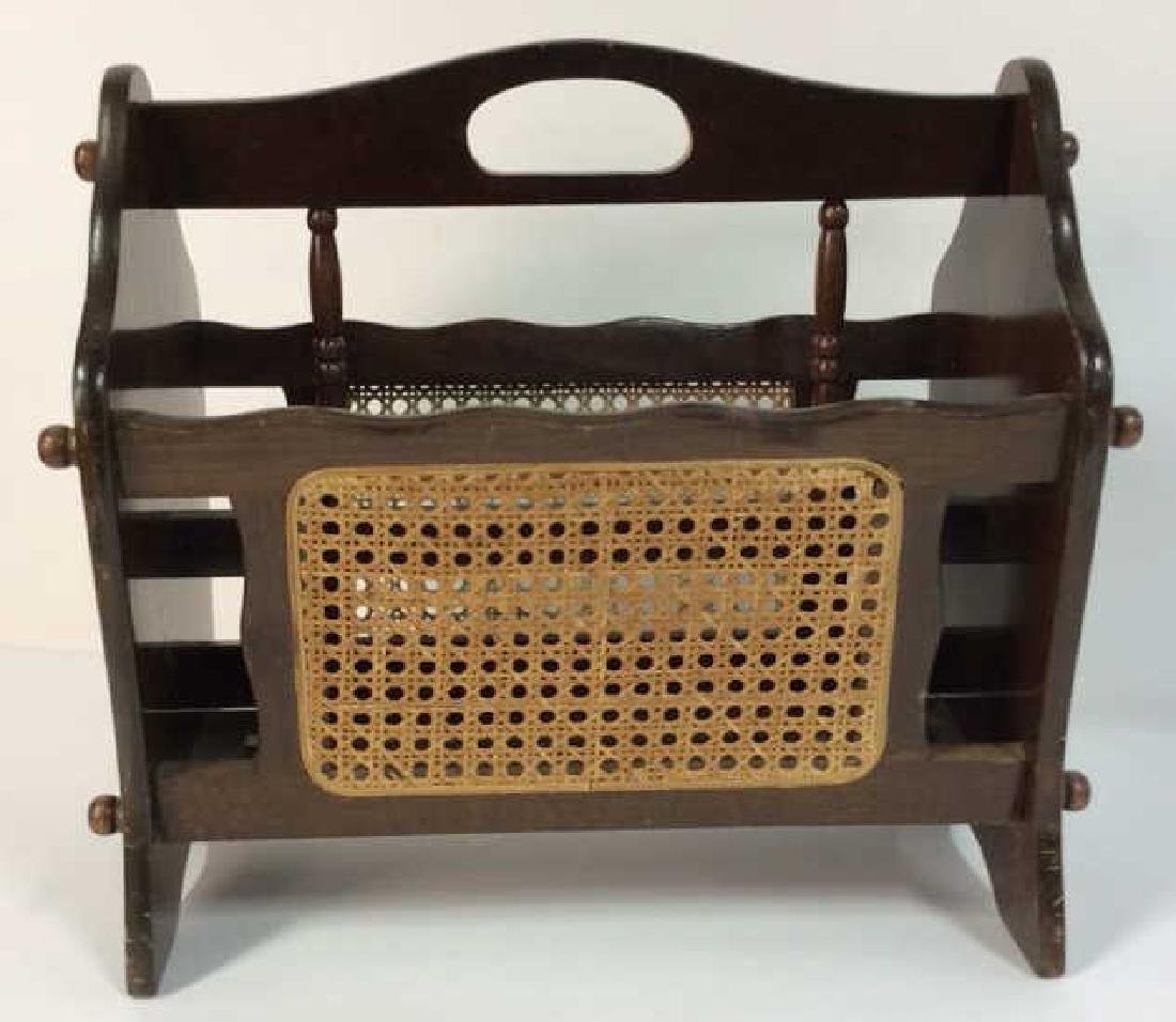 Wooden Magazine Rack w Whicker Caning - 2