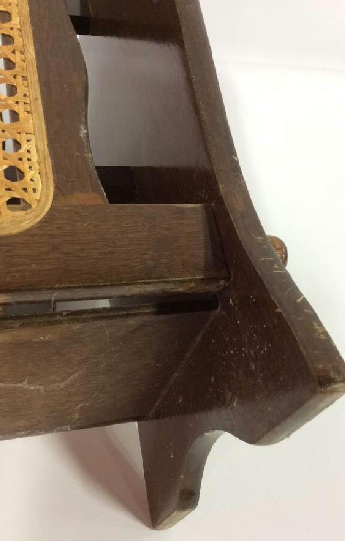 Wooden Magazine Rack w Whicker Caning - 7