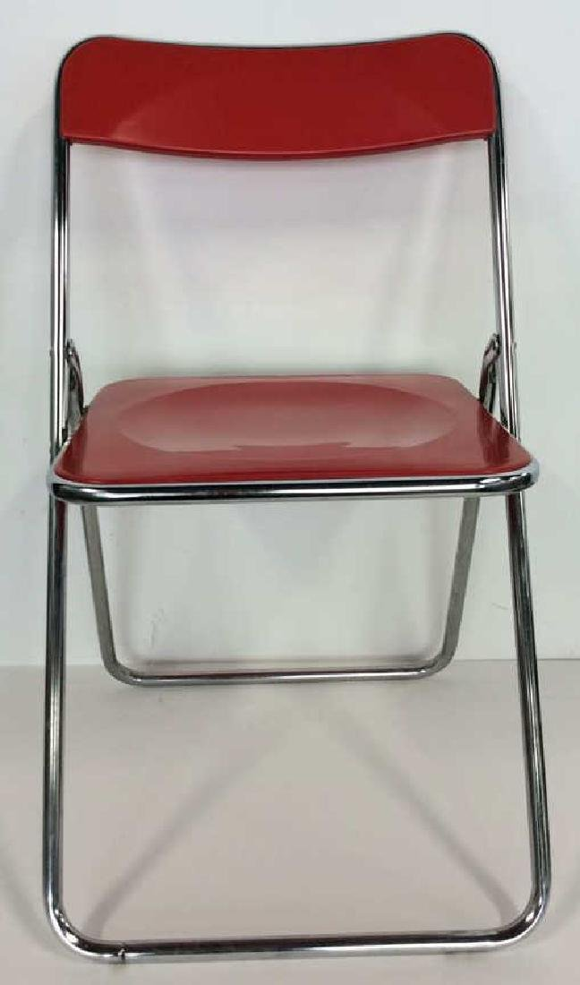 Mod Red Plastic and Silver Toned Metal Chair